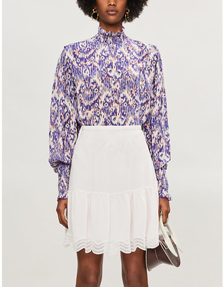 See by Chloe High-waist scalloped-trim crepe mini skirt