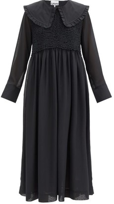 Ganni Ruffled-collar Smocked Chiffon Dress - Black