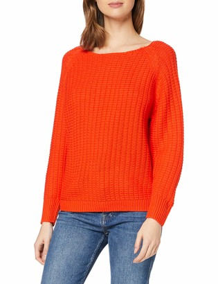 Dorothy Perkins Women's Red Textured Wide Neck Jumper Pullover Sweater XS
