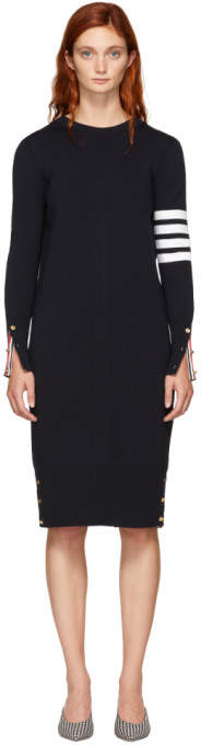 Thom Browne Navy Milano Back To Front Cardigan Dress