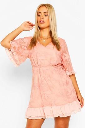 boohoo Plus Lace Ruffle Chiffon Wide Sleeve Skater Dress