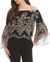Antonio Melani Aurora Off the Shoulder Embroidered Lace Tiered Bell Sleeve Top