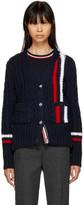 Thom Browne Navy Vertical Stripes Aran V-Neck Cardigan