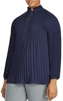 Lauren Ralph Lauren Plus Pleated Tie-Neck Top
