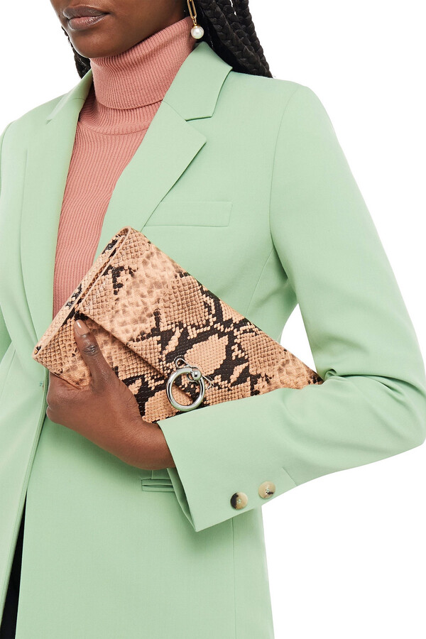 Thumbnail for your product : Rebecca Minkoff Jean Snake-effect Leather Clutch