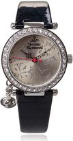 Vivienne Westwood Orb Women's Quartz Watch with Beige Dial Analogue Display and Black Leather Strap VV006SLTL