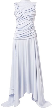 Amal Al Mulla Pleated Mock-Neck Flared Dress