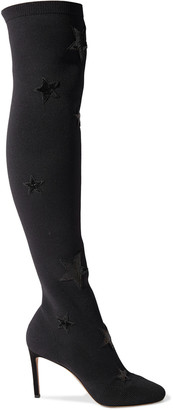 Valentino Appliqued Stretch-knit Over-the-knee Boots