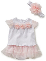 Starting Out Baby Girls Newborn-9 Months Flower Applique Top, Skirt, & Headband Set