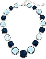 "Anne Klein Silver-Tone and Blue Collar Necklace, 16"" + 3"" Extender"