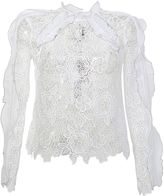 Self-Portrait White Lace Guipure With Ruffle Shirt