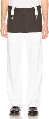 Raf Simons Suspender Pants in Dark Brown & White | FWRD