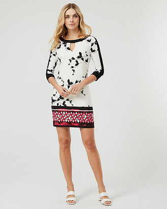 Le Château Floral Print Crew Neck Tunic Dress