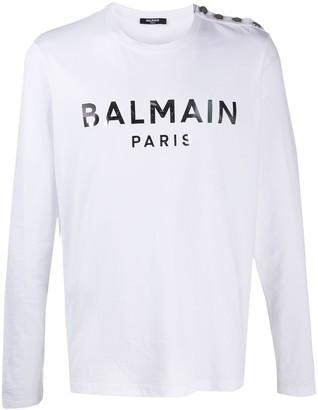 Balmain button-embellished logo print T-shirt