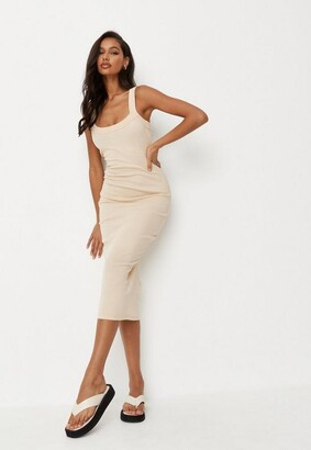Missguided Rib Scoop Neck Midi Dress
