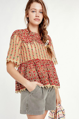 Florence Embroidered Peplum Blouse By Mynah Designs in Assorted Size S
