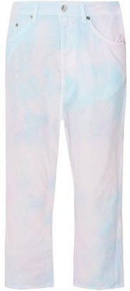 MM6 MAISON MARGIELA Cropped Tie-dyed Cotton-poplin Straight-leg Pants