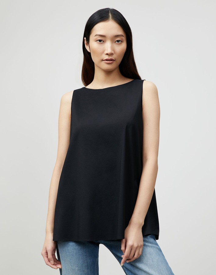 Lafayette 148 New York Isa Convertible Blouse In Italian Stretch Cotton