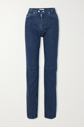 GmbH + Net Sustain Darshini Paneled High-rise Slim-fit Jeans - Dark denim