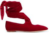 The Row Elodie Lace-up Velvet Ballet Flats - Claret