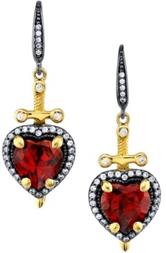 Rocklove Disney's Cubic Zirconia Snow White Dagger Heart Drop Earrings in Black Rhodium- & 18k Gold-Plated Sterling Silver