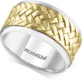 Effy Men's Two-Tone Woven-Look Ring in Sterling Silver and 18k Gold-Plated Sterling Silver