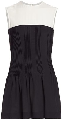 Nina Ricci Contrast-Yoke Pintuck Silk Top