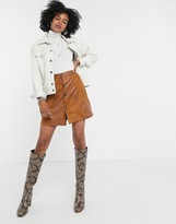 Thumbnail for your product : Lost Ink mini skirt in faux suede patchwork