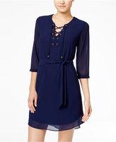 Amy Byer Juniors' Lace-Up A-Line Dress