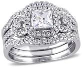 Allura 2 1/5 CT. T.W. Square Cubic Zirconia Halo Bridal Set in Sterling Silver