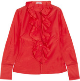 Tome Ruffled Poplin Shirt - Red