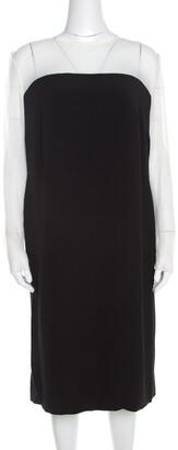 Escada Monochrome Sheer Yoke Detail Long Sleeve Dary Dress L