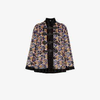 Gucci sequinned faux fur trim coat