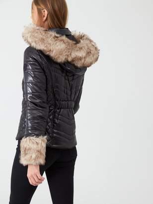 River Island Faux Fur Cuff Padded Jacket - Black