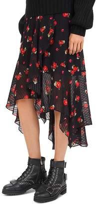 The Kooples English Flower High/Low Midi Skirt