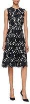 Lela Rose Seamed Floral Lace Dress, Black/Ivory