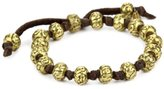 M.Cohen Handmade Designs M.Cohen Hand made Designs Carved Brass Beads On Knotted Leather Bracelet