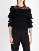 Valentino Lace-panel ruffled wool jumper