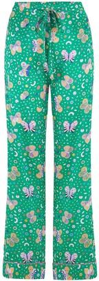 Sleepy Wilson Poppy Silk Pyjama Trousers In Rainforest