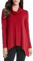 Karen Kane Women's Funnel Neck Jersey Handkerchief Hem Sweater