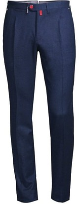 Kiton Birdseye Slim Virgin Wool-Blend Trousers