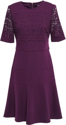DKNY Flared Laser-cut Stretch-knit Dress