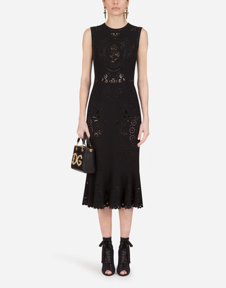 Dolce & Gabbana Sleeveless Cady Calf-Length Dress With Intaglio Detailing