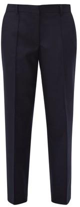 Officine Generale Roxanne Felted Wool Straight Leg Trousers - Womens - Navy