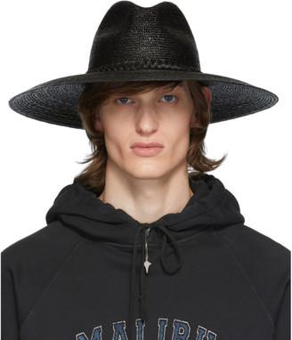 Saint Laurent Black Large Straw Hat