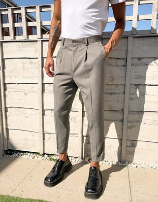 ASOS DESIGN tapered smart trouser in textured camel with turn up