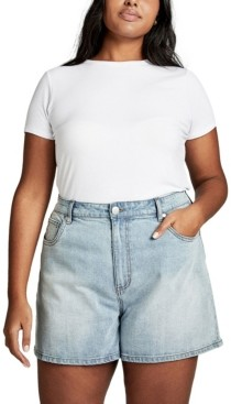 Cotton On Curve High Waist Denim Shorts