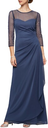 Alex Evenings Illusion Lace Beaded Detail A-Line Gown