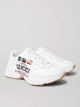 Gucci Rhyton Logo-Print Leather Sneakers