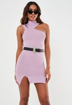 Missguided Lilac Rib Cut Out Double Split Mini Dress